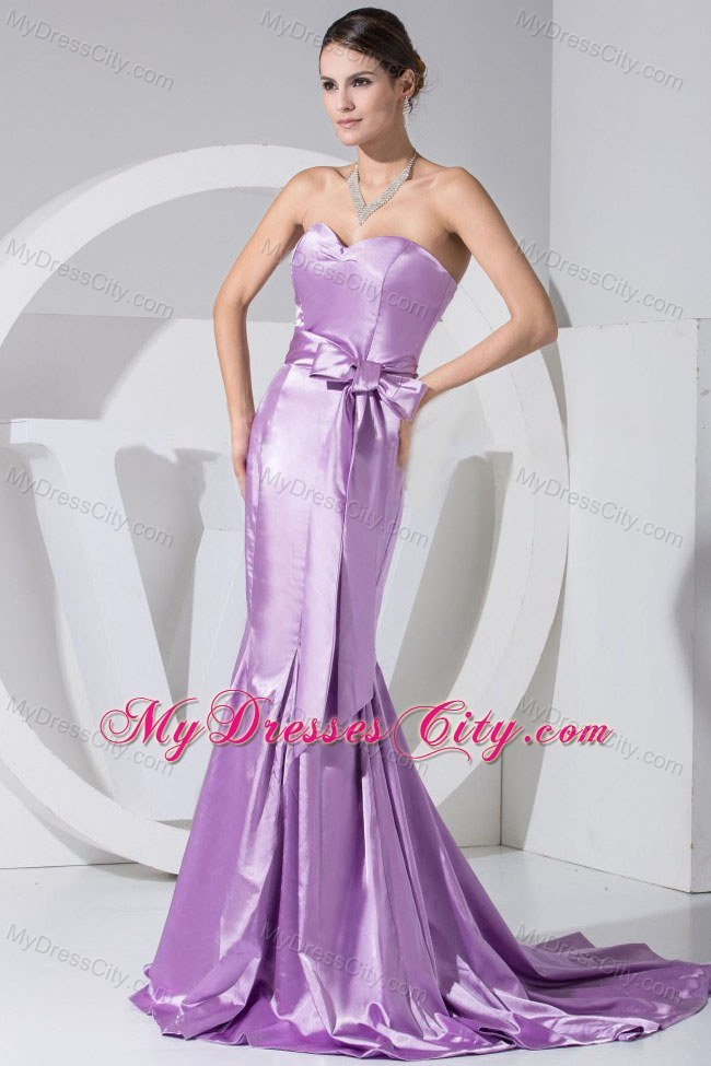 Sweetheart Mermaid Brush Train Bowknot Lavender Evening Dress ...