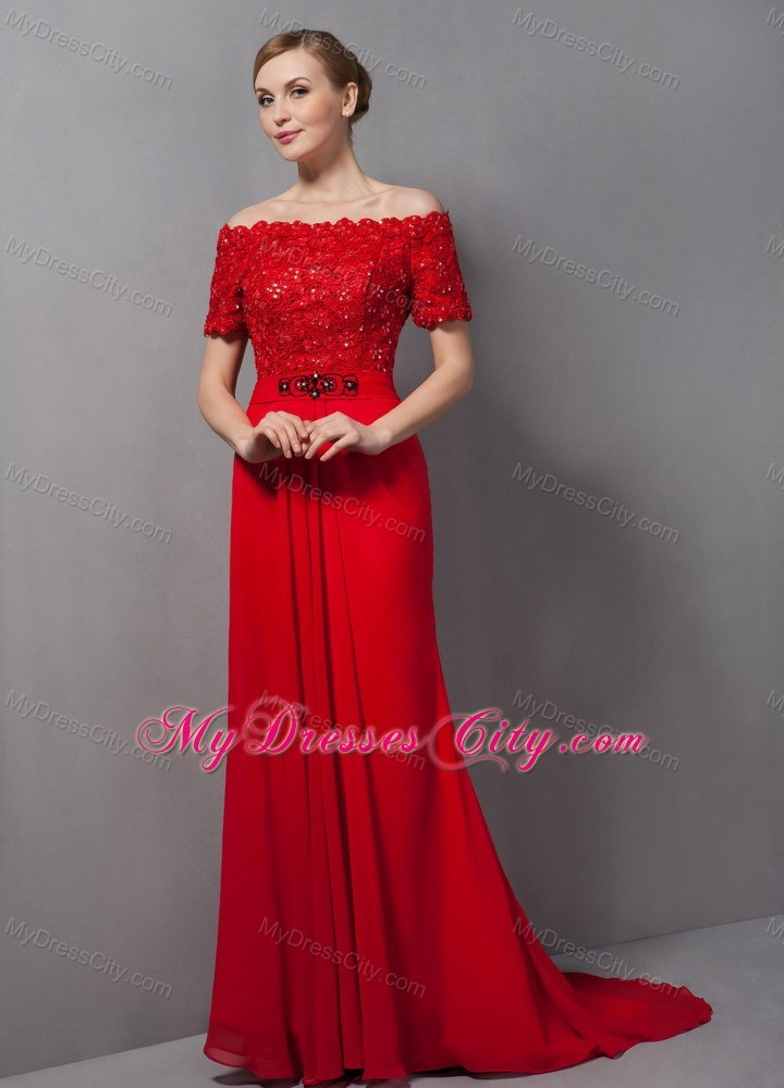 Lace Appliques Off Shoulder Red Evening Dress with Brush Train ...