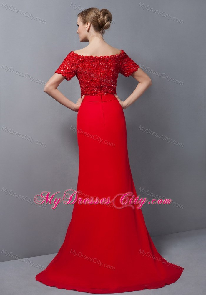 Lace Appliques Off Shoulder Red Evening Dress with Brush Train