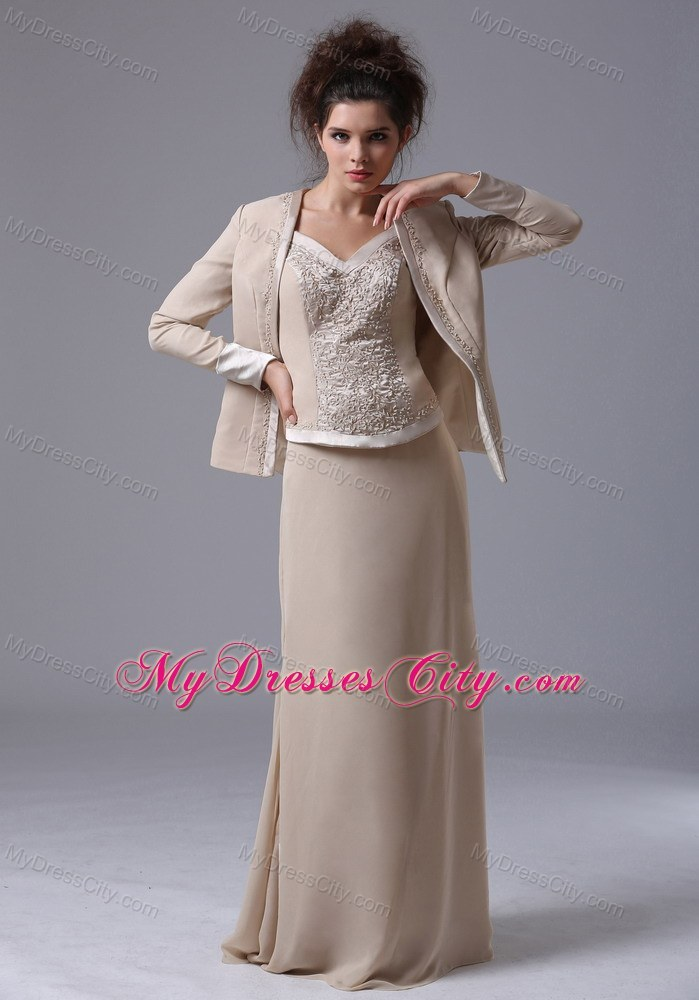 Straps beaded zipper up back chiffon floor length wedding for Dresses for mother of the bride winter wedding