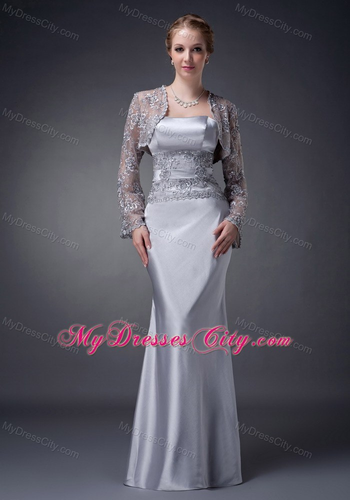 Strapless Liques Floor Length Satin Wedding Outfits For Brides Mother