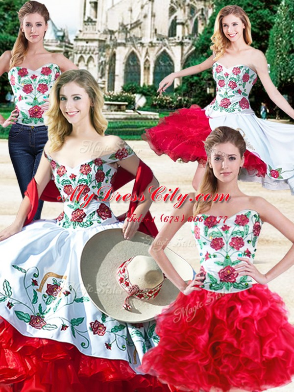 Beautiful Four Piece Ball Gowns Ball Gown Prom Dress White And Red Sweetheart Satin and Organza Sleeveless Floor Length Lace Up