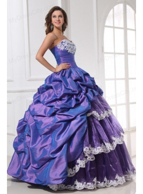 best cheap champagne purple sweetheart appliques and ups quinceanera dress 10138