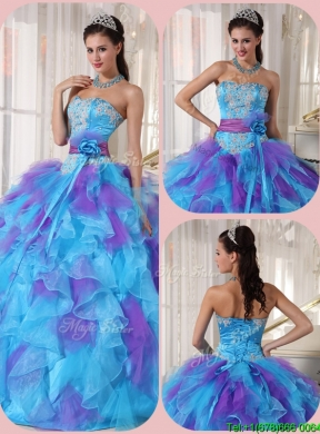 2016 Elegant Ball Gown Floor Length Appliques Quinceanera Dresses