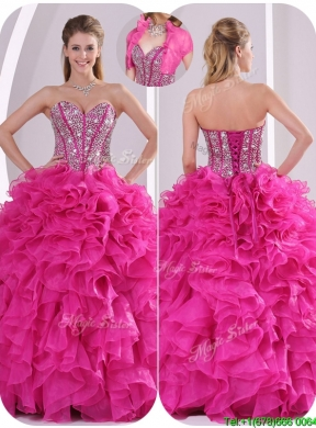 2016 Ruffles and Beading Quinceanera Gowns in Fuchsia