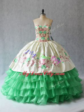 Floor Length Apple Green Sweet 16 Dress Sweetheart Sleeveless Lace Up