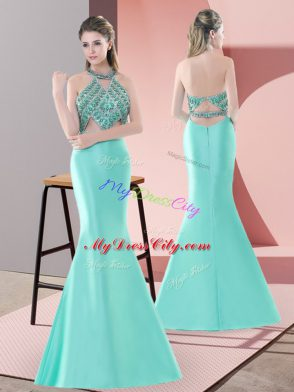 Lovely Blue and Apple Green Two Pieces Satin Halter Top Sleeveless Beading Backless Prom Evening Gown Sweep Train