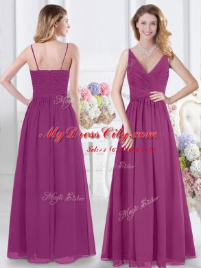 wedding ideas for spring low price fuchsia empire chiffon v neck sleeveless ruching 27725