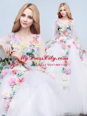 Romantic With Train A-line Long Sleeves White Wedding Dresses Court Train Lace Up