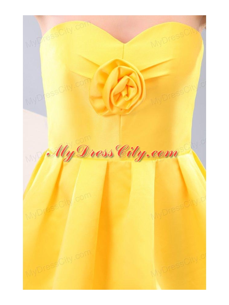 Yellow Sweetheart Hand Made Flower Prom Dress with Short