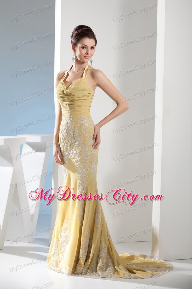 Yellow Mermaid Halter Appliques Ruches Prom Evening Dresses