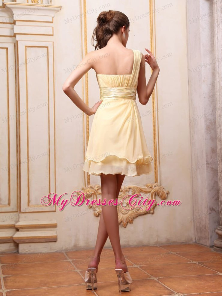 Yellow One Shoulder Mini-length Homecoming Dress With Beading