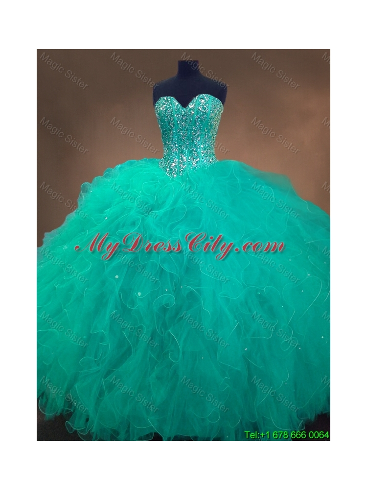 Cheap Sweetheart Ball Gown Sweet 16 Dresses in Turquoise