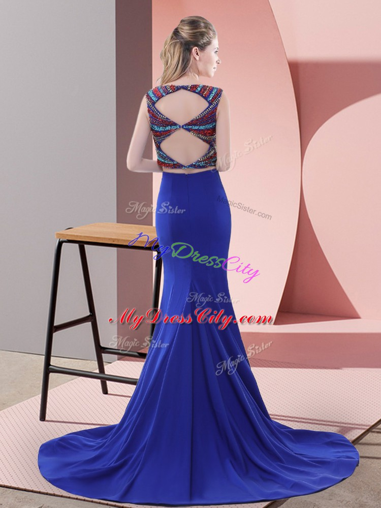 Delicate Satin Sleeveless Homecoming Dress Sweep Train and Beading
