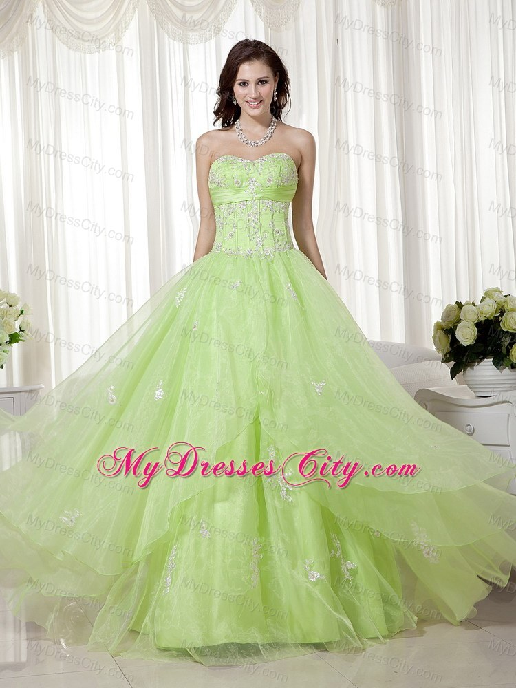 Yellow Green Organza Sweetheart Beading A-line Prom Gown