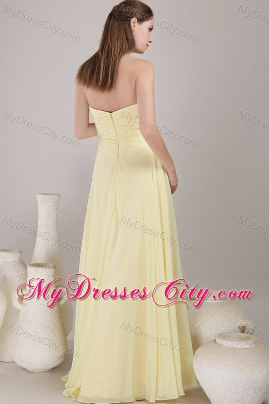 Yellow Empire Sweetheart Chiffon Ruched Long Prom Dress