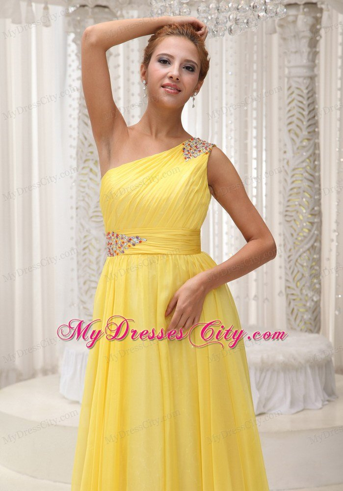 Yellow One Shoulder Beading and Ruches Prom Dresses in 2013