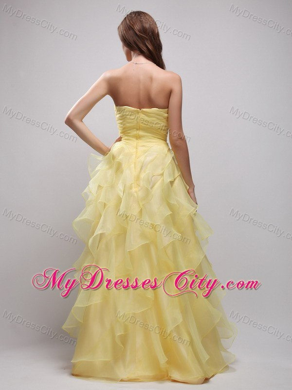 Yellow Sweetheart Floor-lenth Prom Dress with Ruffles and Appliques