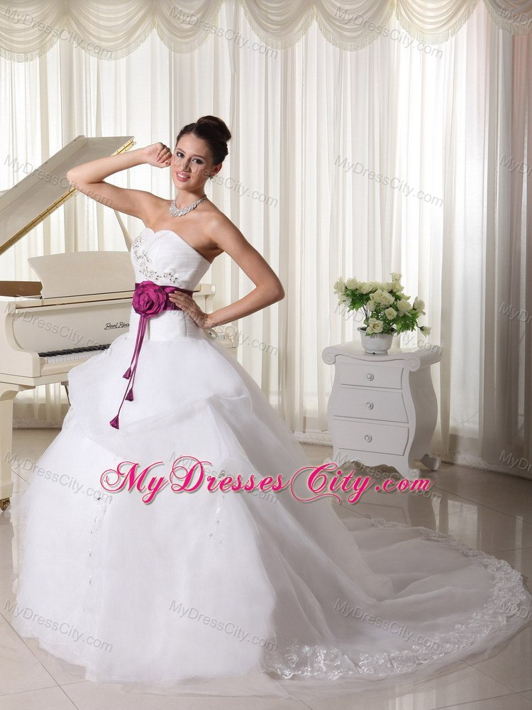 Organza Court Train Beaded Church Wedding Dresses With Fuchsia Flowers Belt