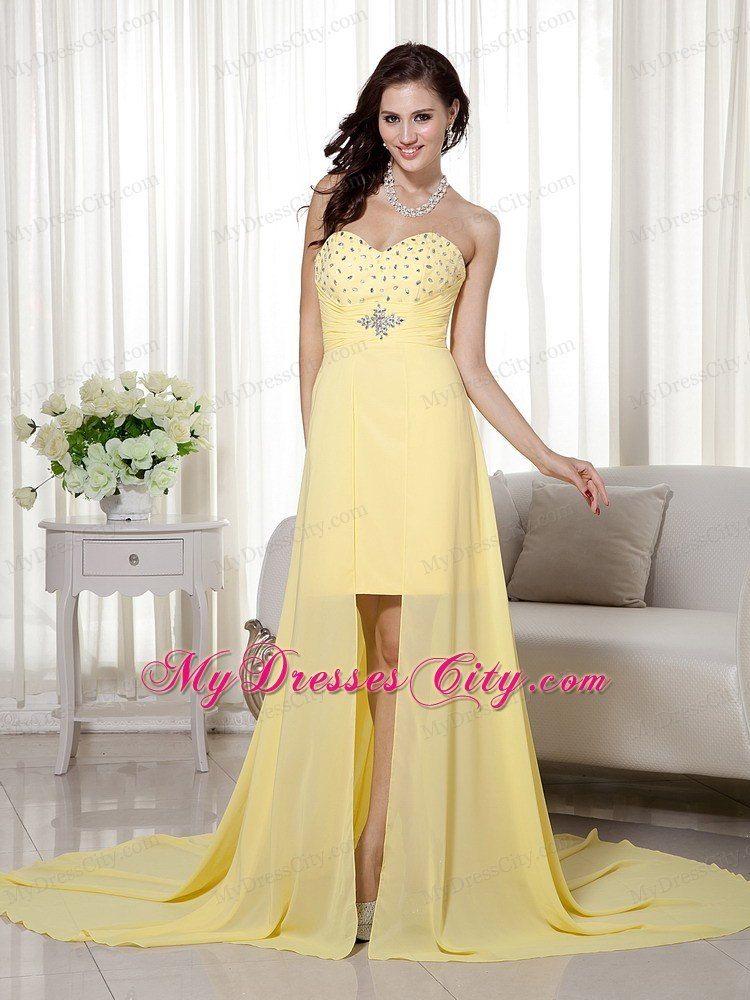 Yellow High-low Chiffon Beading Prom Evening Dress