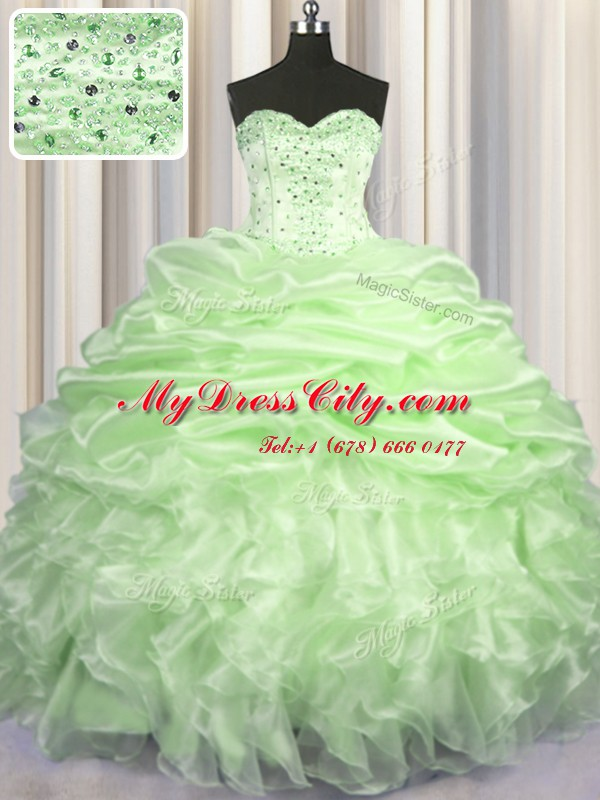 Yellow Green Sleeveless Brush Train Beading and Ruffles and Pick Ups With Train Sweet 16 Dress