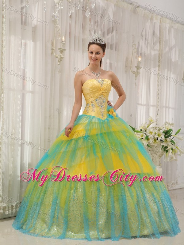 Yellow and Blue Tulle Quinceanera Dress with Appliques and Flowers